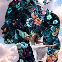 freetoedit flowers shilouette girl dancer