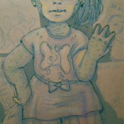 freetoedit girl drawing lizard art