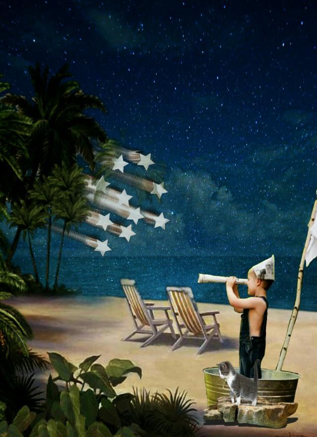 #freetoedit # beach #sea #night #stars #kid