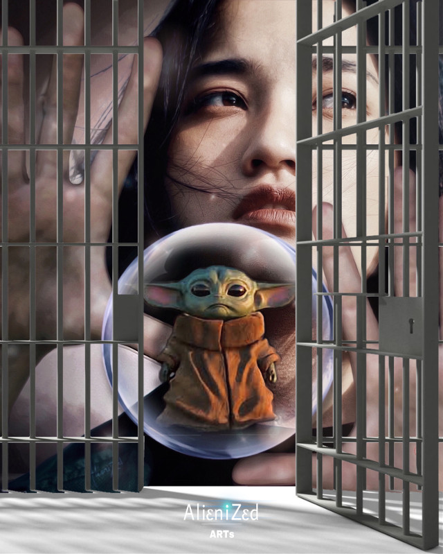 #Repost to #Help us to #free #babyyoda from #jail 😳 😅  Have a super nice tuesday planet 👋🏻👽👉🏻☕️🍪🍩@PA   #freetoedit #portrait #girl #prison #starwars #alienized #wallpaper #uhd #editedwithpicsart