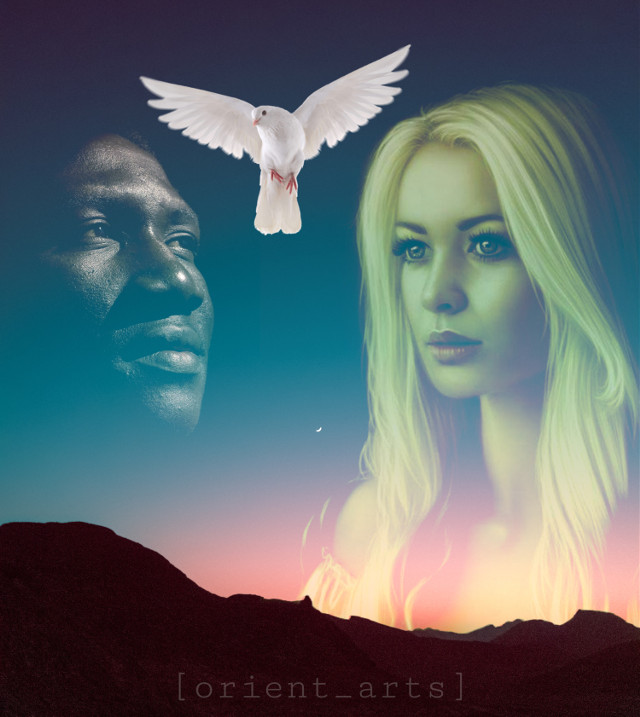 #freetoedit #madewithpicsart #papicks #dove #peace #sunset #stopracism #weareone# #mountain #faces #picsart