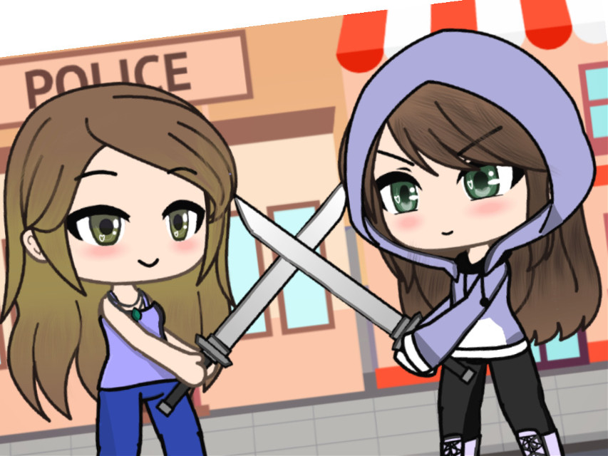 My sister made the oc to the left and i made the right xD this is meant to be my real life self and same with my sister, we sword fight every day xD