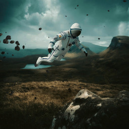 freetoedit astronaut floating field nature