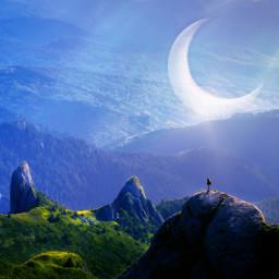 magical moon mountains blue myedit freetoedit