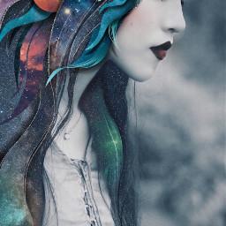 freetoedit space galaxy portrait mystical