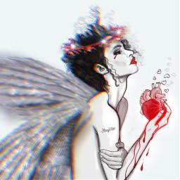 freetoedit outline artwork brokenhearted angel