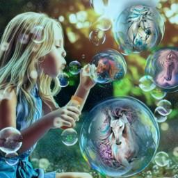 freetoedit horse unicorn imagination bubbles rcbubblebubble bubblebubble