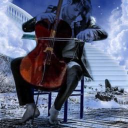 freetoedit ghost cellist ghostlycellist stairwaytoheaven