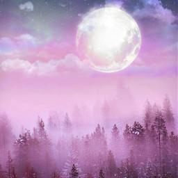 freetoedit backgrounds pastel moon pink trees myedit madewithpicsart