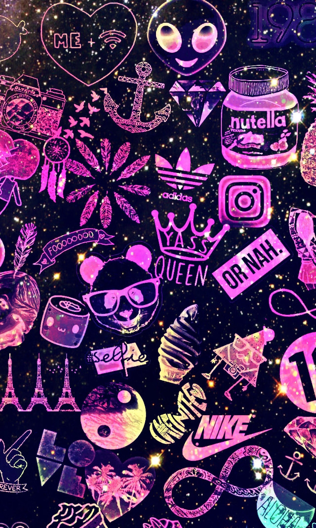 #freetoedit @mpink88 #glitter #sparkle #galaxy #tumblrstickers #collage #nike #queen #nutella #infinite #neon #aesthetic #pattern #background #wallpaper