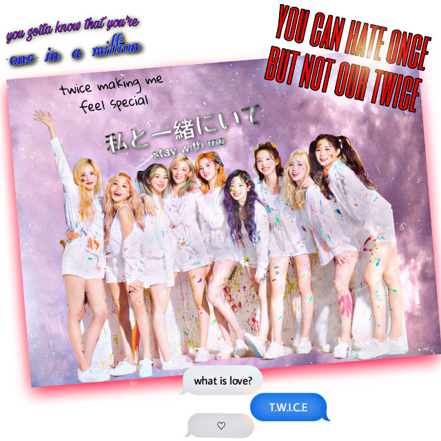 I'm one in a miilion💜😭 Twice is a angels❤ Idk why ppl hate him... I think thay are'nt know the feel how to be once🤕 Lets back for the life now Twice is one of many bands that making me know who i'm and how to love myself I am ONCE and i prude of me cause i stan the best girl band✌😌 I just love twice❤  @nayeon_twicejyp  @dahyun_twicejyp  @mina_twicejyp  @chaeyoung_twicejyp @sana_twicejyp  @momo_twicejyp  @tzuyu_twicejyp  @jeongyeon_twicejyp  @jihyo_twicejyp  @twicetagram_off  Thank you twice❤