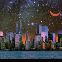 freetoedit skyline city stars moon