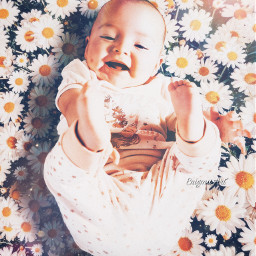 baby happy smile daisies flowers freetoedit
