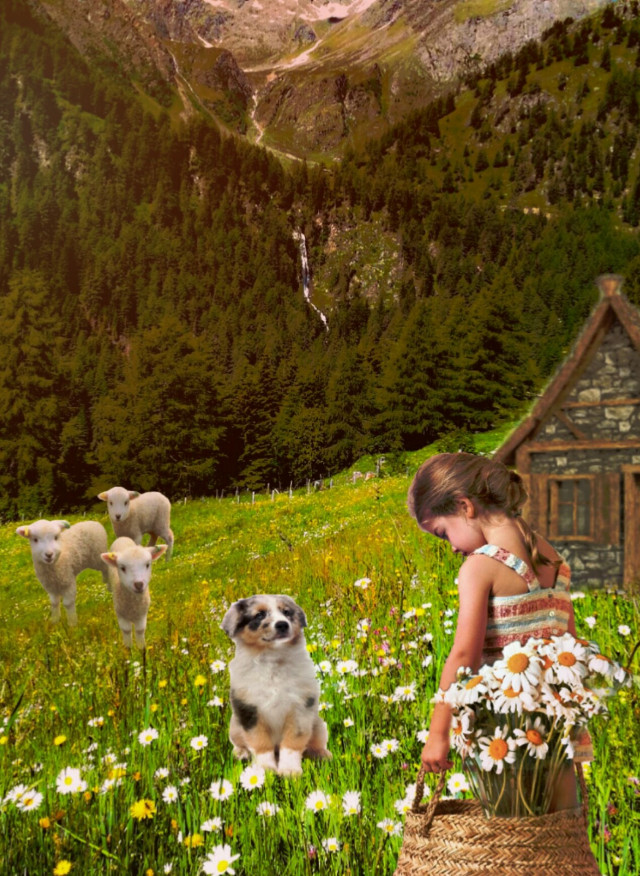 #freetoedit #nature #landscape #children #kids #mountain #trees #animals #cottage