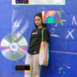 freetoedit cd retro glitch girl