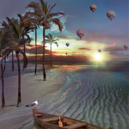 freetoedit beach sea palmtrees boat srchotairballoons hotairballoons