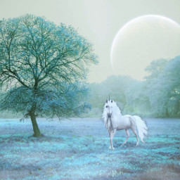freetoedit magical mystical landscape unicorn