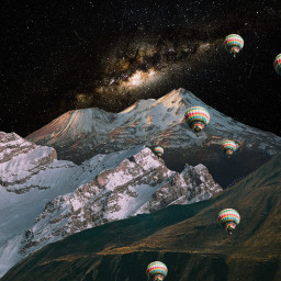 freetoedit mountains galaxy collage space srchotairballoons