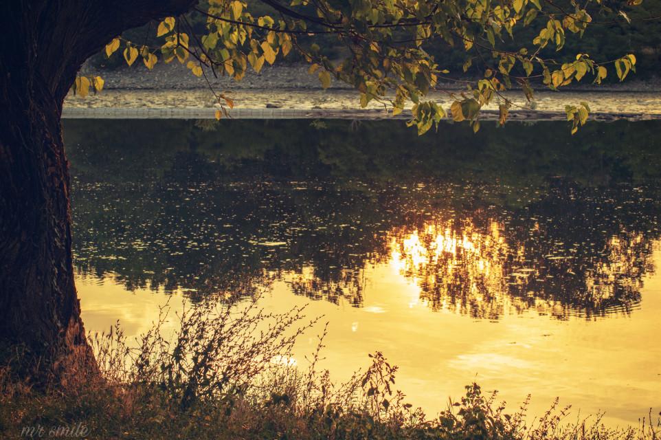 #freetoedit #sunset #reflection #river #naturephotography