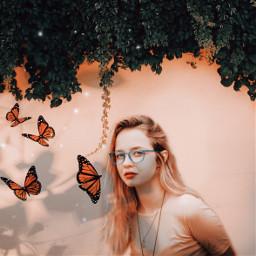 freetoedit shadows woman butterflies plants