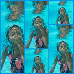 swimming armani pool underwater braids