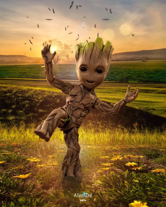 #babygroot wish you a wonderful Sunday planet 👋🏻👽👉🏻☕️🍩🍪🍬@PA 😊  #freetoedit #babygroot #marvel #heroes #superheroes #fanart #background pictures not tagged remixed from #unsplash #nature #alien #tree #birds #sunset #alienized #wallpaper #uhd #editedwithpicsart