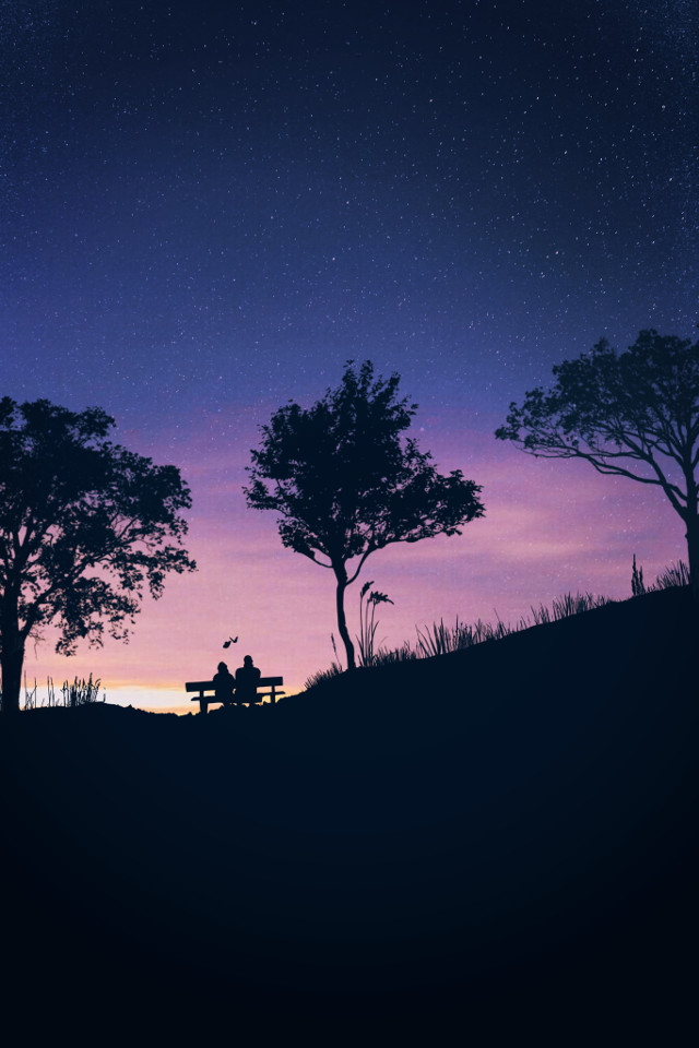 """""""sOmeOne iN tHe CrOuD CoulD Be tHe OnE yOu NeeD tO KnOw.🕊"""" . . . #love #purple #yellow #blue #lalaland #trees #stars #bench #loveforever #sky #butterflies #silhouette #madewithpicsart #wallpaper #background #heypicsart #freetoedit"""