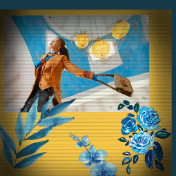 freetoedit blue flower blueasthetic yellowaesthetic