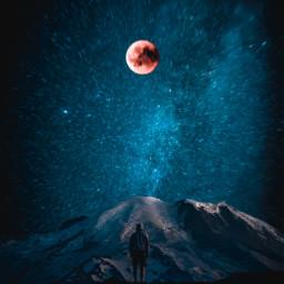 new art digitalart moon sky