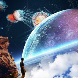 freetoedit surreal jellyfish myedit madewithpicsart manipulation surrealisticworld space boy araceliss