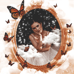 mirror clouds vintage frame stars sparkle butterfly freetoedit