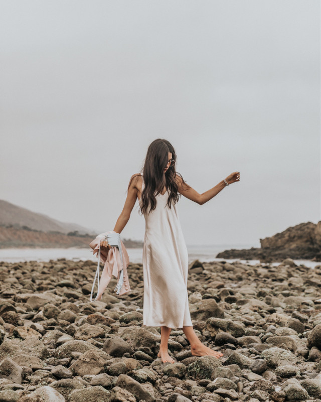 gloomy but beautiful 🤍💫   #freetoedit #ocean #beach #california #interesting #moody #model #dress #style #people #photography #fashion #nature