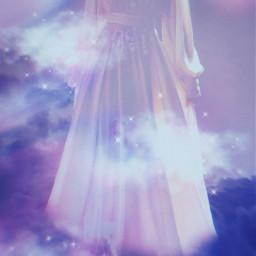 freetoedit picsart papicks galaxy sky rainbow surreal vynl dreamy dress aesthetic dreamyaesthetic purple whitedress clouds cloudy prism surrealism