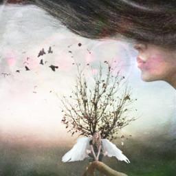 freetoedit doubleexposure woman wind angel