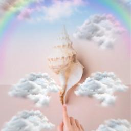 freetoedit sky clouds rainbow seashell hand ircseatreasure seatreasure