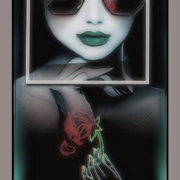 freetoedit pic picture pictureframe frameinframe framedphoto photography amazing_woman beautifulwoman woman womanface face eyes sunglasses glasses greenmouth mouth hand fingers flower redrose🌹 rose text tekst redrose