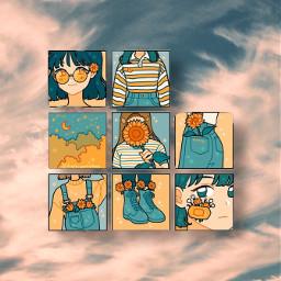 animiegirl wallpaper background clouds freetoedit
