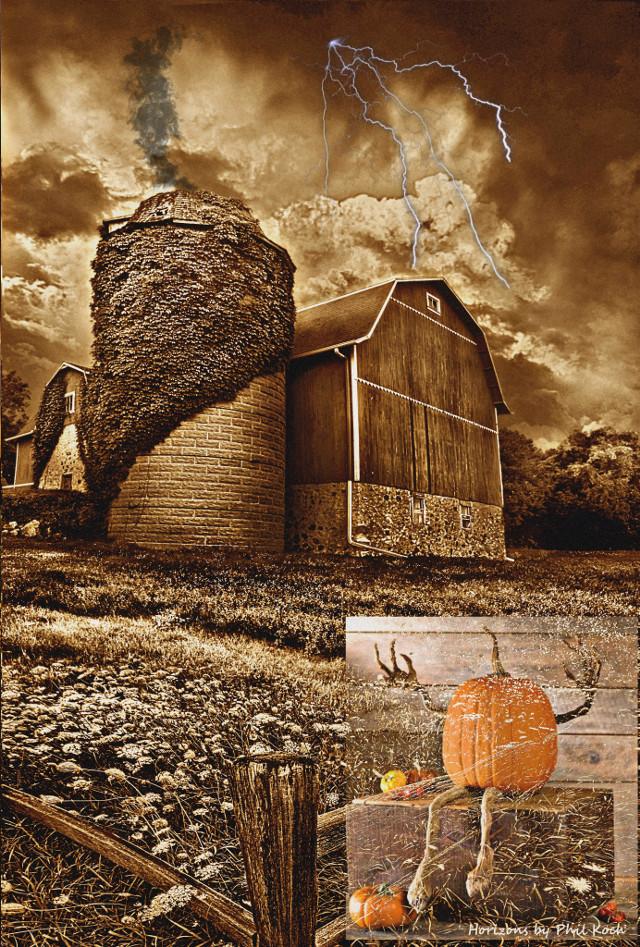 #freetoedit #halloween #fall #pumpkins #decor #farm #fence #barn #lightening #clouds #noiseeffect #remixed #smoke