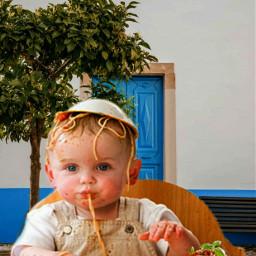 freetoedit funny forfun bebe baby spaghetti plate house echairart hairart
