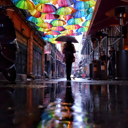 freetoedit rainyday reflection rainbow umbrella turkey streetpic pictureoftheday pcwaterreflection waterreflection