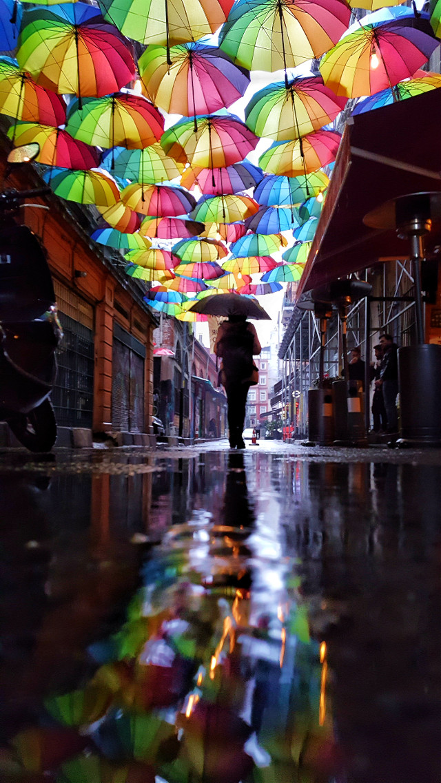 #freetoedit #rainyday #reflection #rainbow #umbrella #turkey #streetpic #pictureoftheday