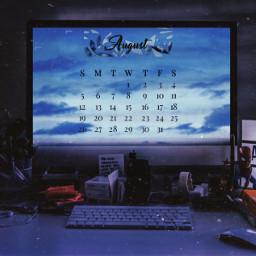 freetoedit august summer sky blue srcaugustcalendar