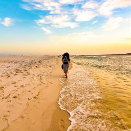 freetoedit beach summer girl walk