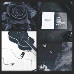 freetoedit black white blue collage aesthetic