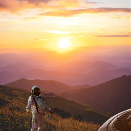light sunshine astronaut spaceship art photography graphicart sunlight nature mountains sky sol astronauta grass sunrise girlcreates naturaleza