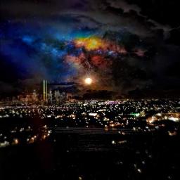 freetoedit citynight citylights stormyskies gotham