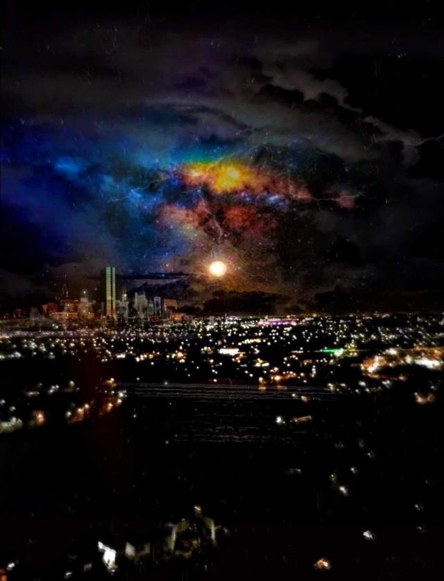 🌠Have a great new week dear friends!#citynight #citylights #stormyskies #gotham #boston #galaxysky #freetoedit