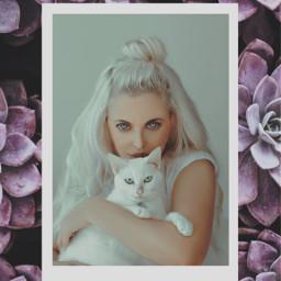 freetoedit myedit girl cat succulentplants