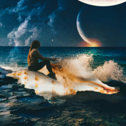 freetoedit view calm sea moon night planets shell fantasyart surrealart ircseatreasure seatreasure