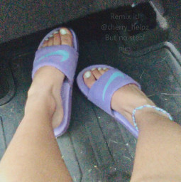 white aesthetic purple purpleshoes purpleaesthetic lavender lavenderaesthetic lavendershoes nike nikeslides nikeshoes purpleslides shoes feet feetpic freetoedit